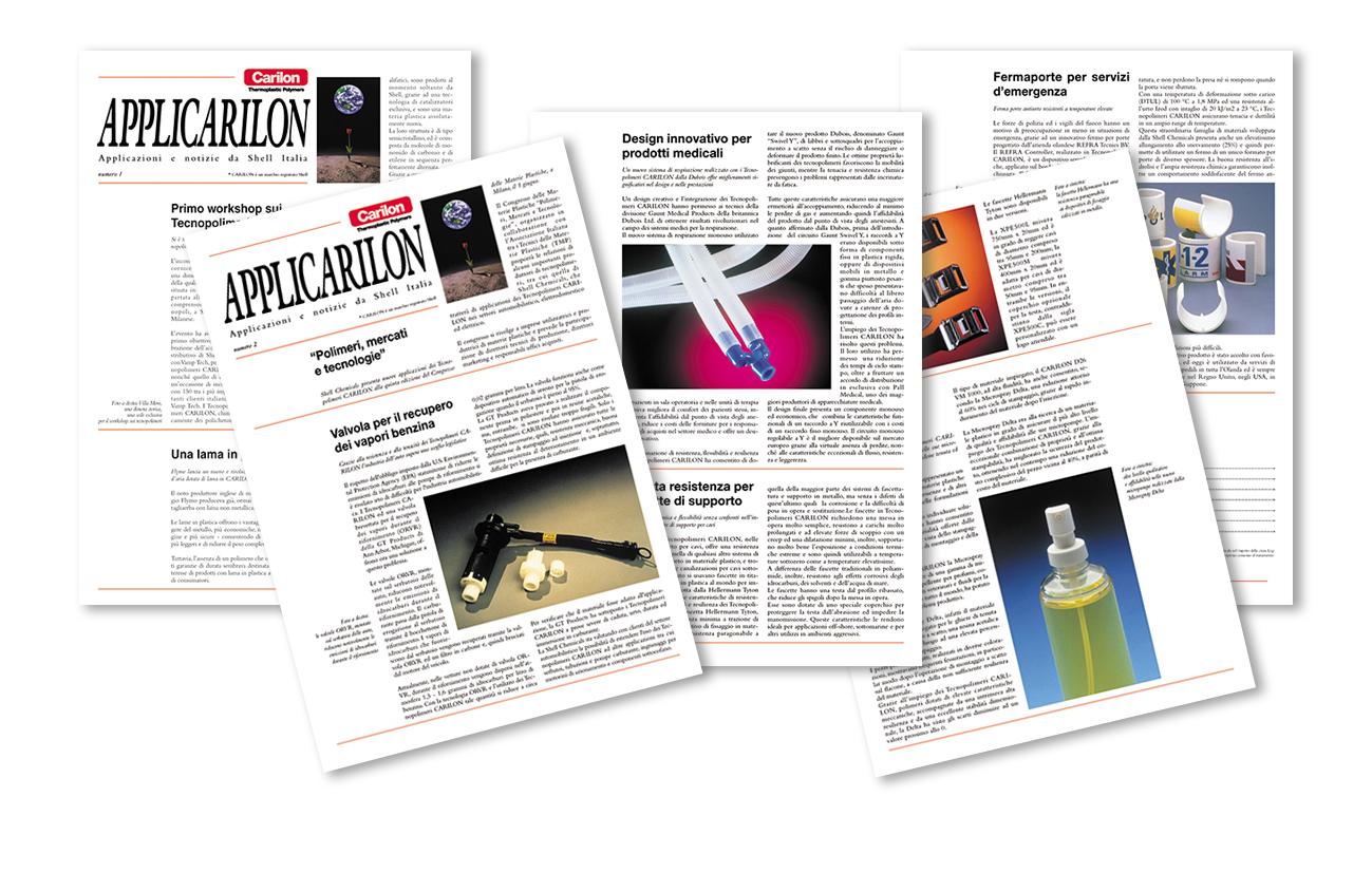 """Applicarilon Riviste periodiche di settore Carillon Shell Italia S.p.A. – """"Per Ag. Admil Industria – Milano"""" Settore chimica"""