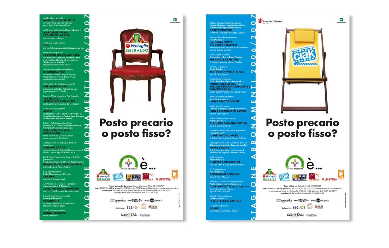 """Teatro Smeraldo """"Posto precario"""" - Milano Affissione, periodici e quotidiani Pianificazione regionale e nazionale"""