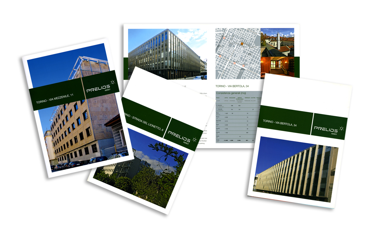 Prelios – Tecla Prelios sgr - Torino Serie di leaflet di prodotto Settore immobiliare