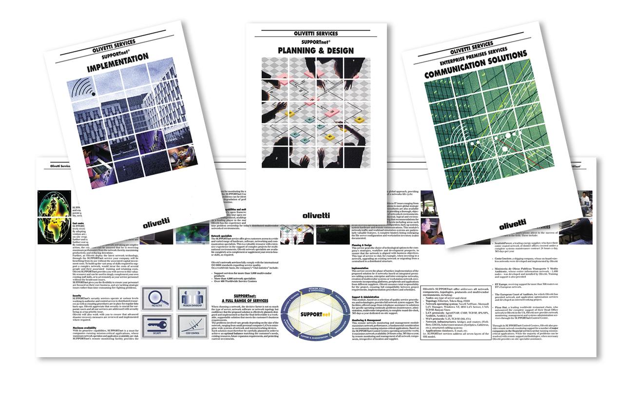 Olivetti S.p.A. – Ivrea Serie di brochure di servizi Settore servizi aziendali